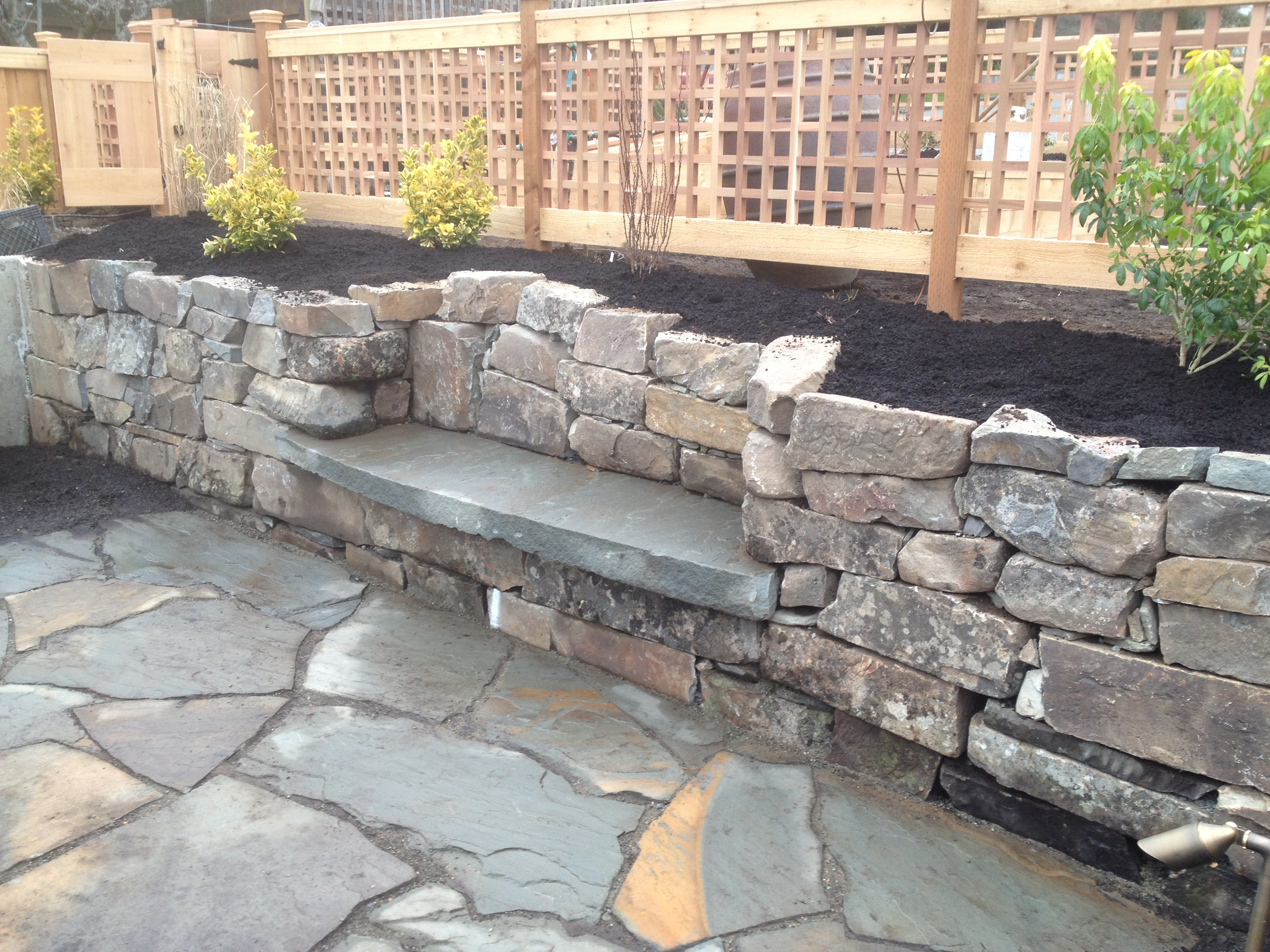 Retaining Wall Seating Dry Stack Retaining Wall With Bench Fasoldt Gardens